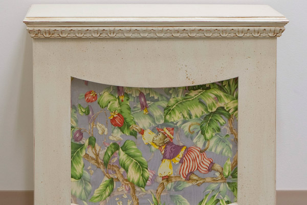 textured radiator cover with monkey on fabric