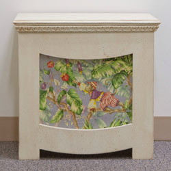 Wooden frame radiator cover with flower pattern fabric