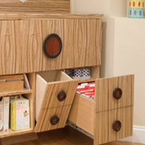 Wooden storage unit with drawers and shelves